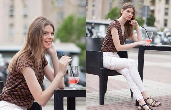 Look_moda_outlet_camisa_trucco_marrón_y_pantalón_cremallera