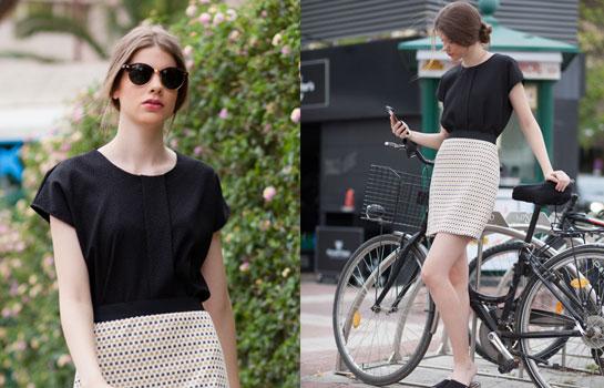 Look moda outlet camisa trucco y falda