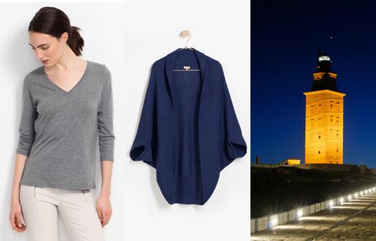 Pantalón Outlet Trucco denim Camiseta gris cardigan azul Picnic Playa