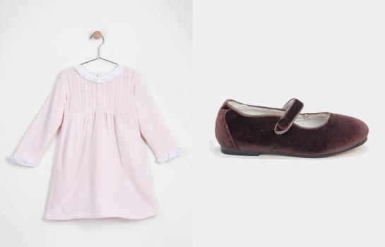 vestido Neck & Neck rosa y Merceditas Neck & Neck marrones
