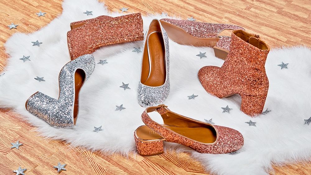 zapatos purpurina