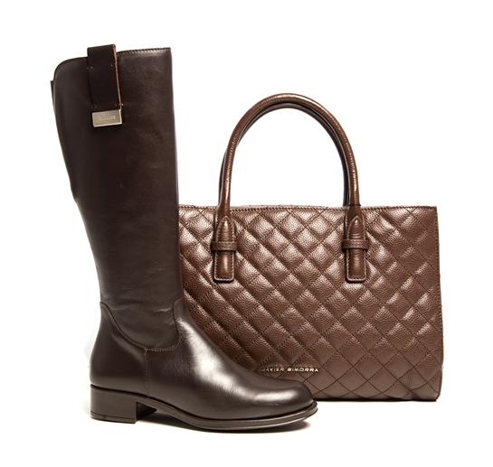 combo botas y bolso marrón