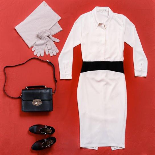 bodegón vestido camisero blanco