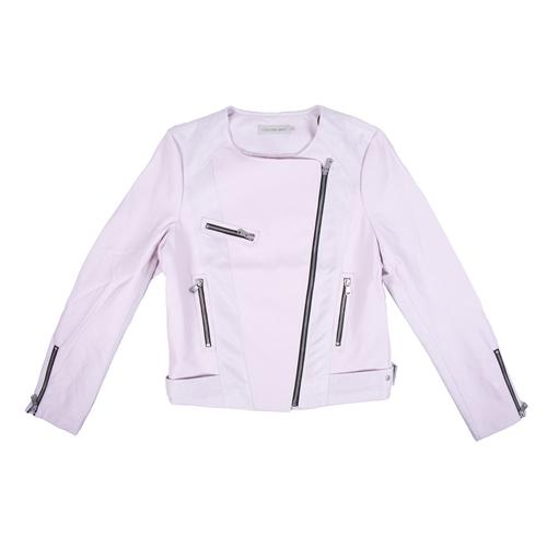chaqueta de cuero rosa