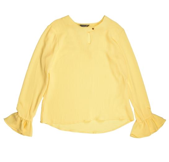 blusa amarilla con volante en la manga