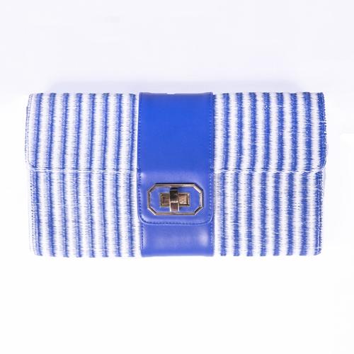 cartera rayas azul y blanca