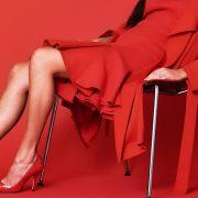 falda de volantes roja