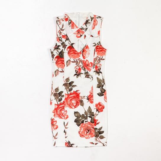 vestido de flores espalda cruzada