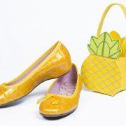 bodegón zapatos amarillo y piña