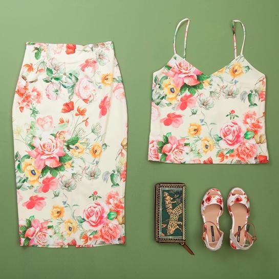 bdegón top y falda lápiz de flores