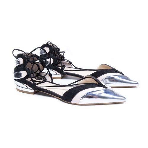 zapatos punta plateado