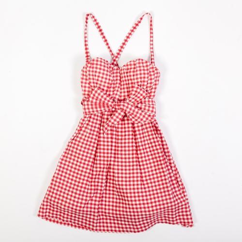 vestido vichy rojo y blanco