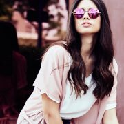 look gafas redondas rosa