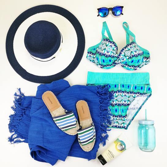 bodegón moda baño chica azul