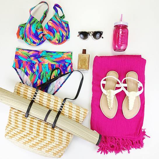 bodegón moda baño chica rosa