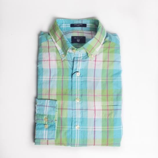 camisa cuadros verde gant