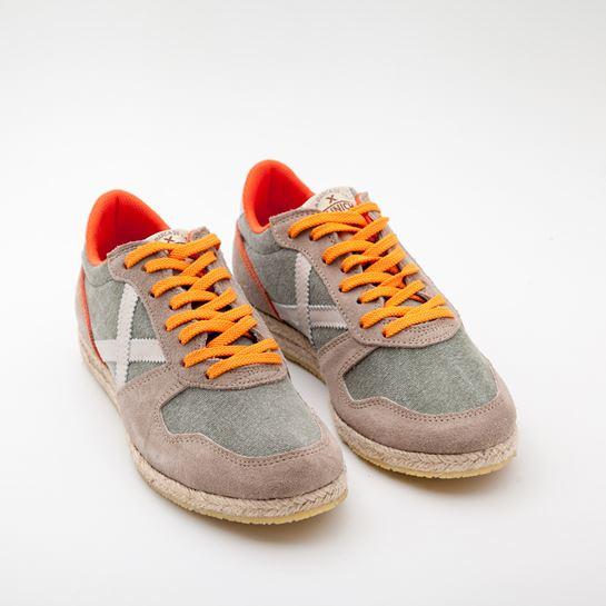 zapatillas munich gris y naranja