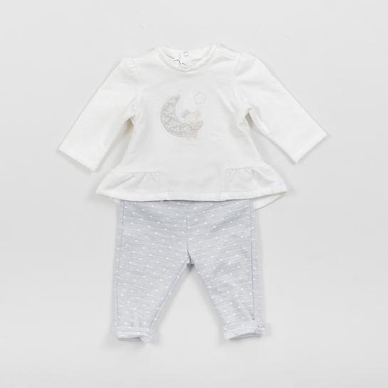 conjunto bebé blanco y gris