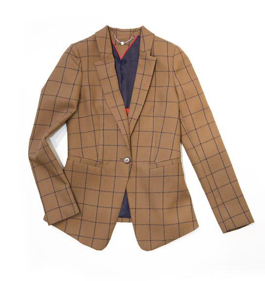 chaqueta cuadros mostaza