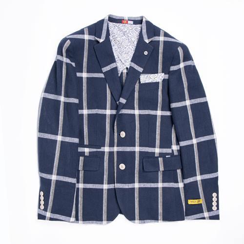 chaqueta cuadros blanco y azul