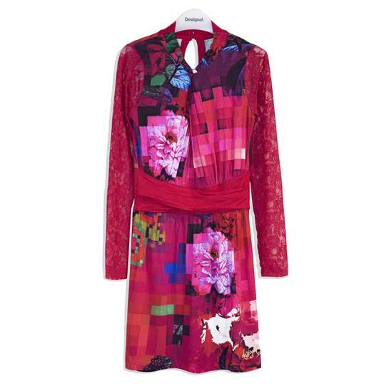 vestido estampado floral desigual