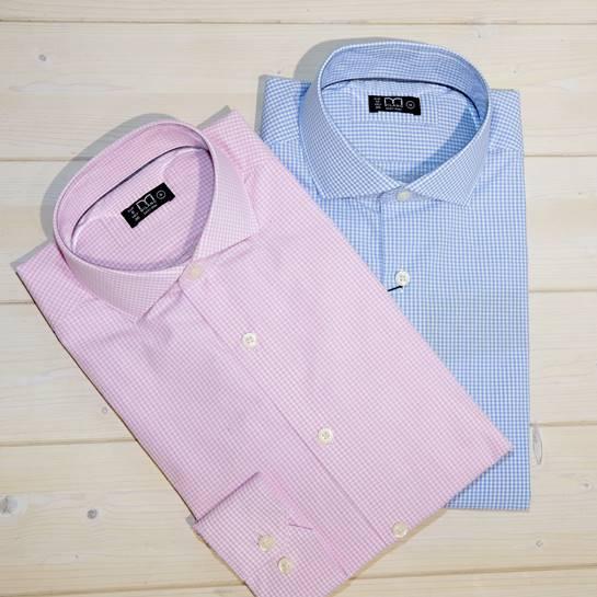 camisas hombre rosa y celeste