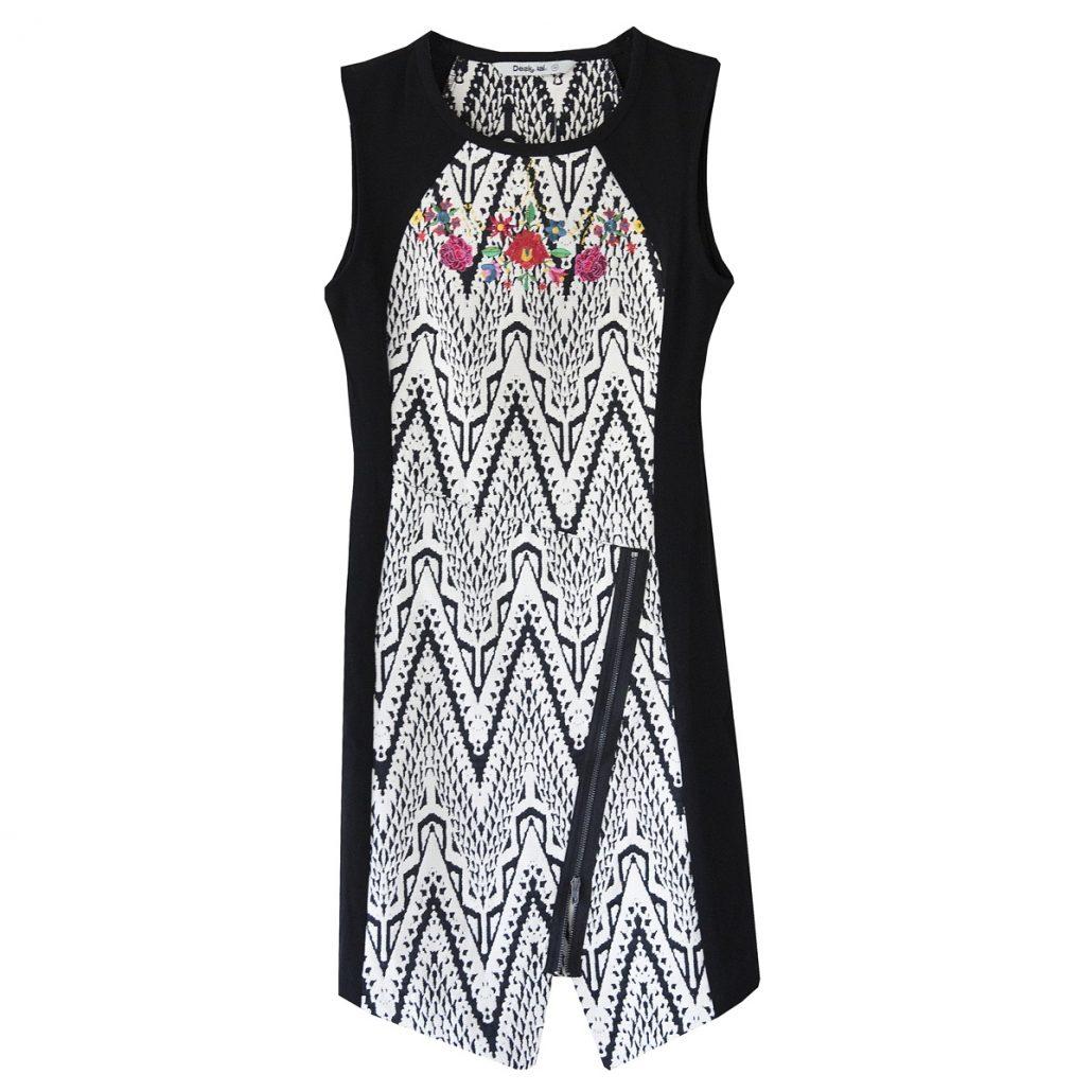 vestido blanco y negro desigual