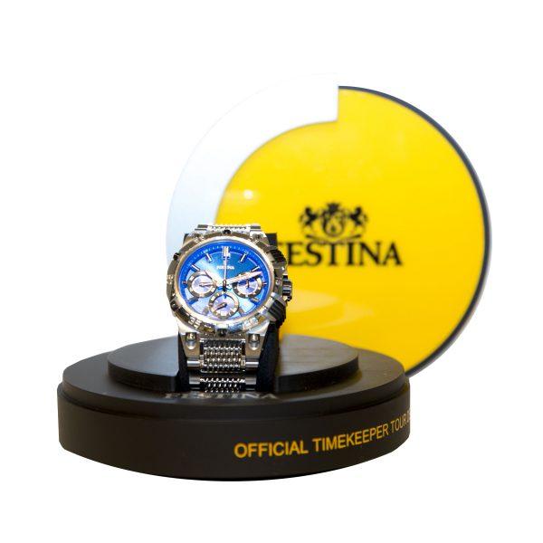 Reloj plateado con fondo azul FESTINA