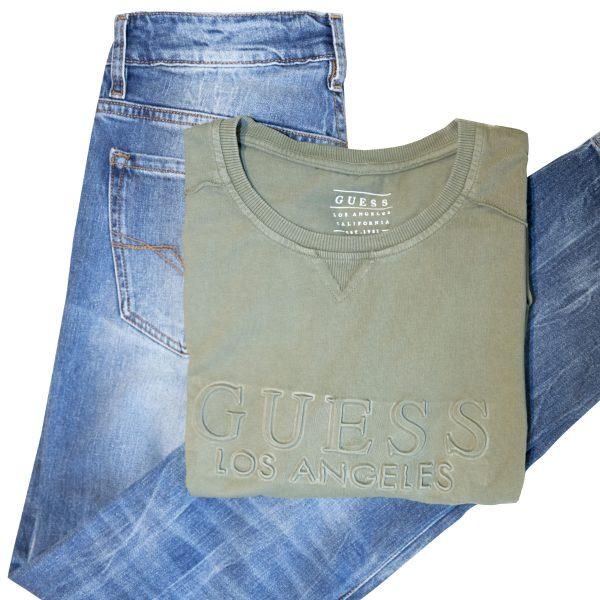 Pantalones vaqueros y chaleco verde caqui GUESS