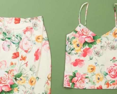 vestido blanco dos piezas floreado
