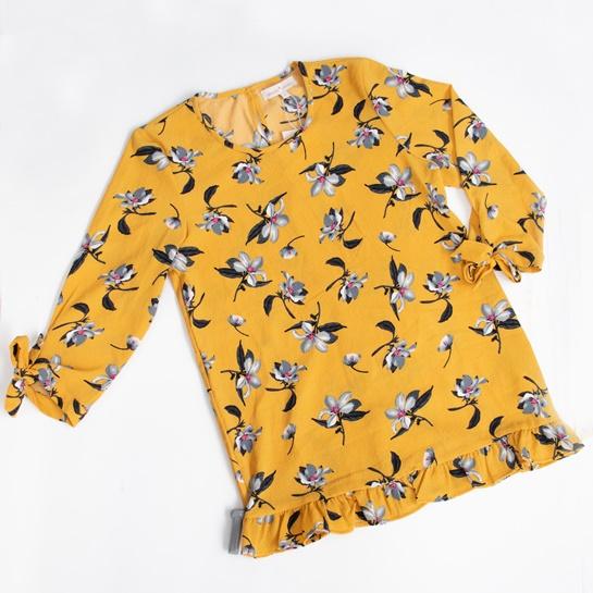 Blusa dorada con flores AMICHI