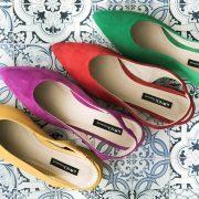 sandalias tacon de colores
