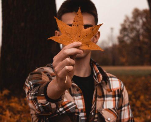 Portada. Chico con hoja de otoño