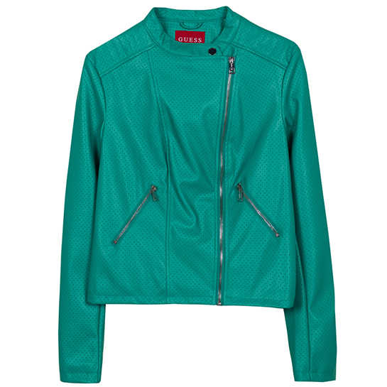 Cazadora Biker verde de Guess precio original: 79,90€ /Precio outlet: 39,90€