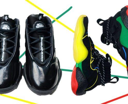 zapatillas negras y multicolor